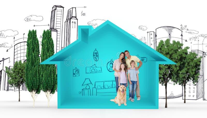 站立与狗的愉快的家庭的综合图象 免版税库存图片
