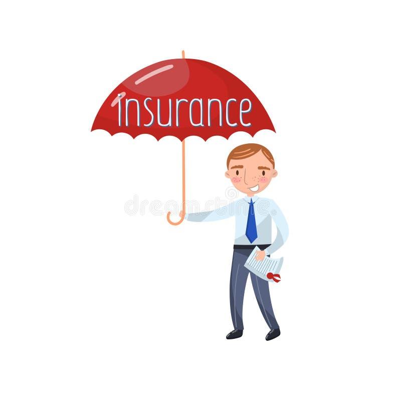 站立与红色保护的伞,保险概念动画片传染媒介例证的保险代理公司 向量例证