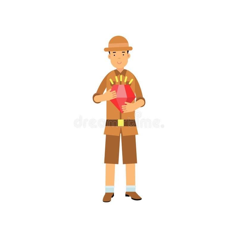 站立与红色珠宝的年轻考古学家字符在手上 向量例证