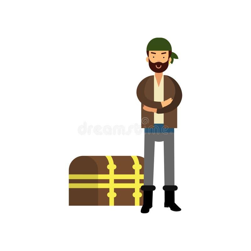 站立与胳膊的平的动画片海盗人字符在与珍宝的木胸口附近横渡了 皇族释放例证