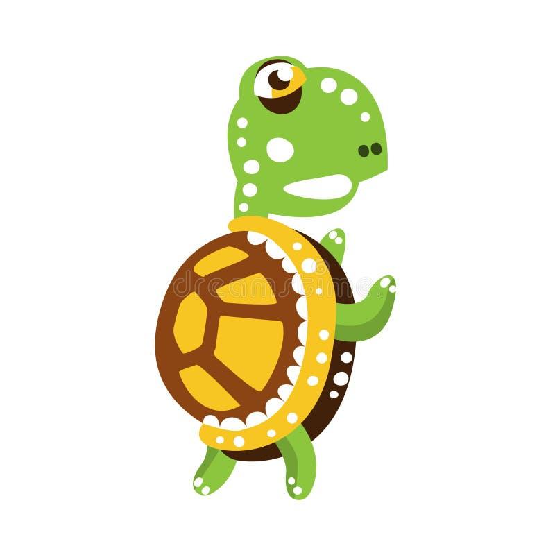 站立与鸭脚板的可怕绿海龟 向量例证