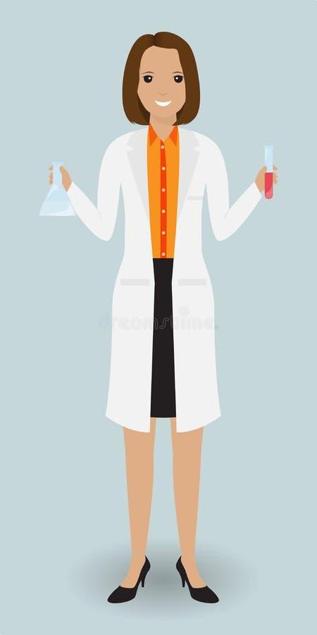 站立与玻璃器皿的医学实验室助理 与血样的医学测试器 向量例证
