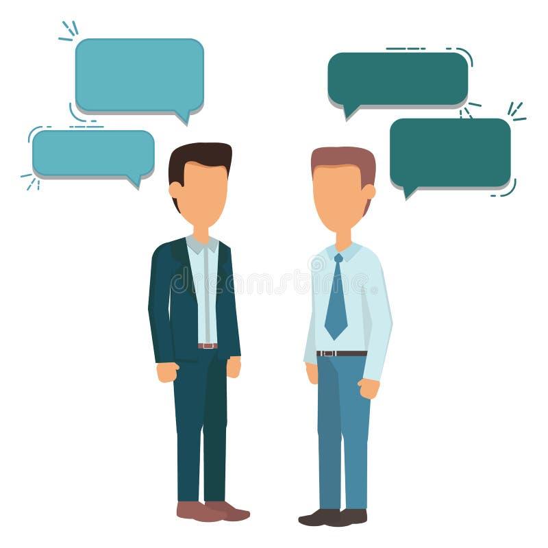 站立两个的商人,谈话,谈论谈判 向量例证