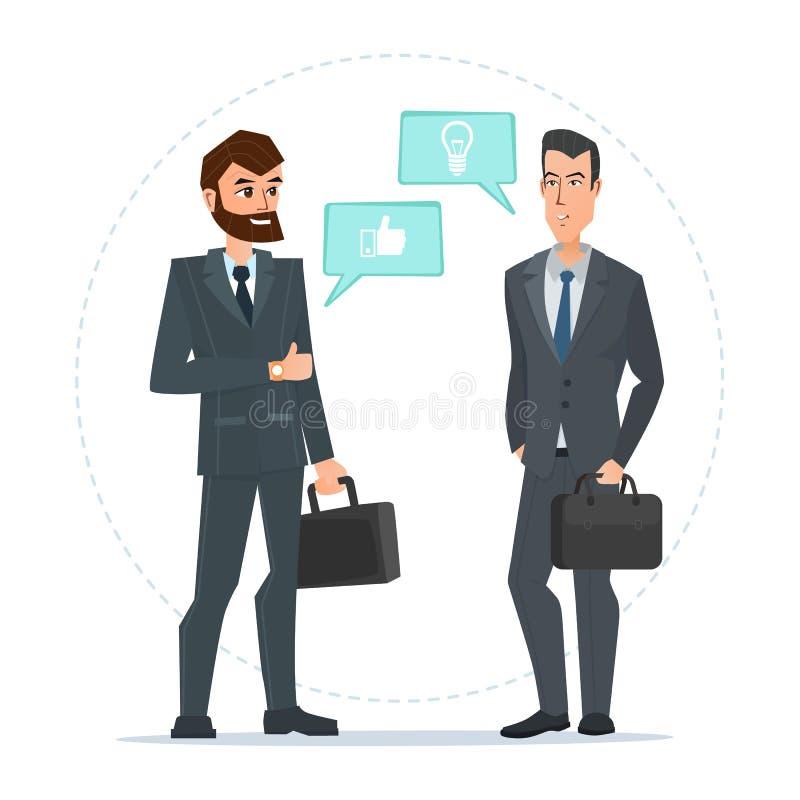 站立两个的商人,谈话,谈论谈判 库存例证