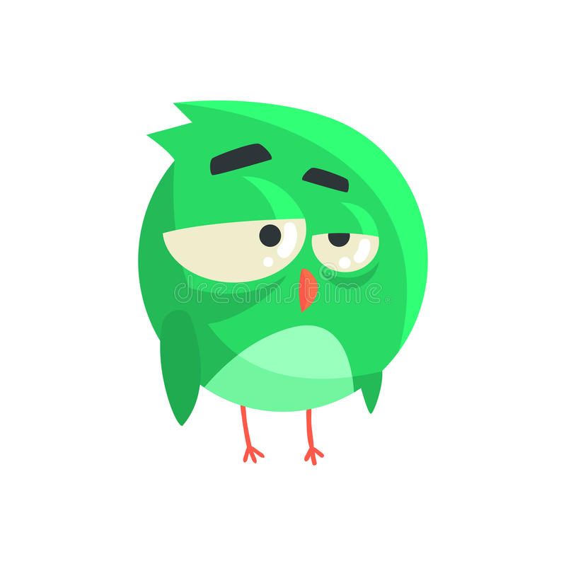 站立五颜六色的字符传染媒介例证的逗人喜爱的矮小的绿色周道的小鸡鸟 向量例证