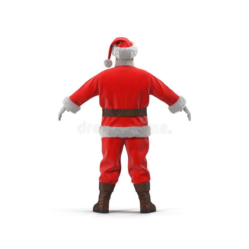 站立全长画象的圣诞老人 查出在白色 查出的背面图白色 3d例证 向量例证
