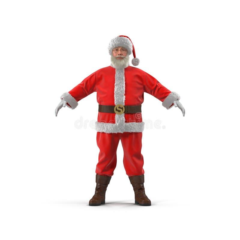 站立全长画象的圣诞老人 查出在白色 正面图 3d例证 皇族释放例证