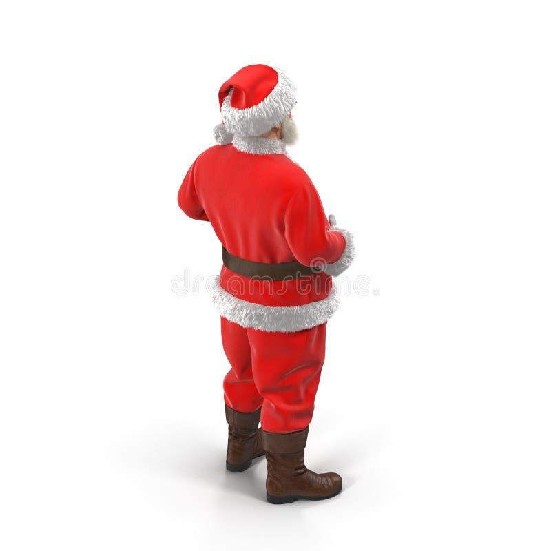 站立全长画象的圣诞老人 查出在白色 3d例证 库存例证