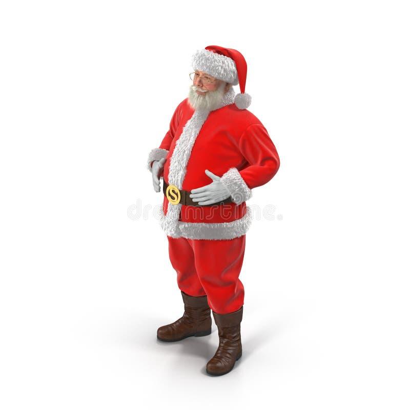 站立全长画象的圣诞老人 查出在白色 3d例证 向量例证