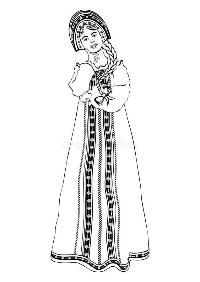 站立前方,传染媒介概述画象,黑白等高图画,着色的俄国全国服装的女孩 妇女 向量例证