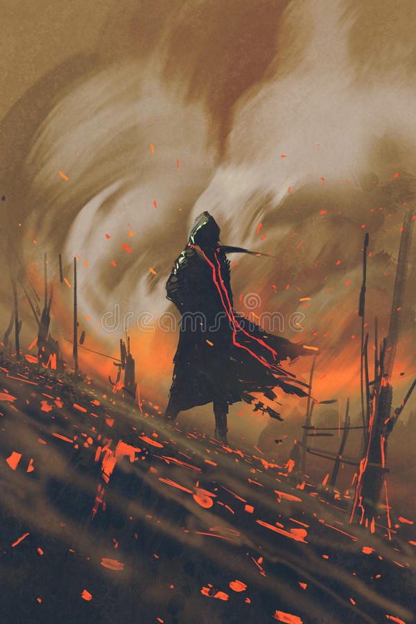 站立反对灼烧的森林的黑斗篷的人 皇族释放例证
