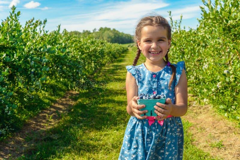 站立和举行在她的在b的手蓝莓的逗人喜爱的女孩 库存图片