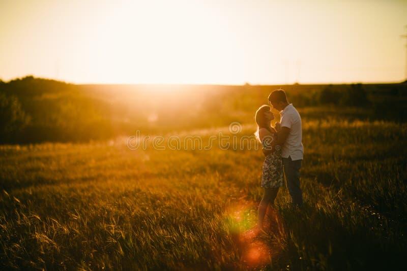 站立和亲吻在背景夏天领域向日葵日落的浪漫夫妇 免版税库存照片