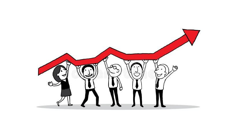 站立和拿着成长的显示图表在事务的人 创造性的配合概念 被隔绝的illustratio 皇族释放例证