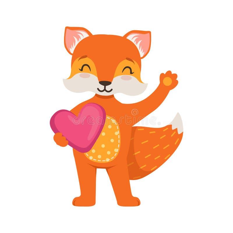 站立和拿着桃红色心脏,滑稽的动画片森林动物摆在的传染媒介例证的逗人喜爱的橙色狐狸字符 皇族释放例证