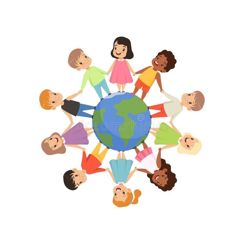 站立和握手在地球地球附近,友谊,团结概念的小孩不同的国籍 库存例证图片