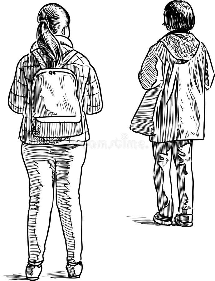 站立和等待在公交车站的偶然townswomen剪影  库存例证