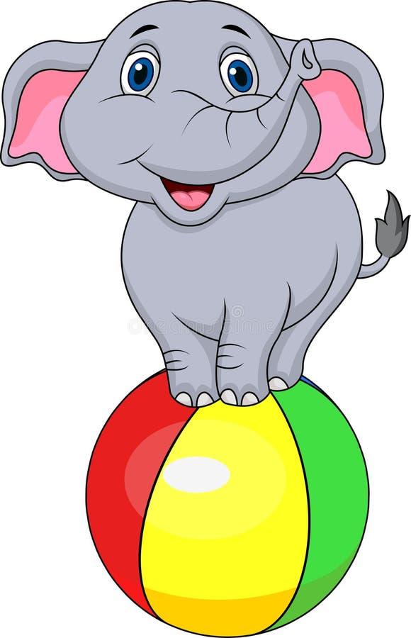 站立在一个五颜六色的球的逗人喜爱的大象动画片 库存例证