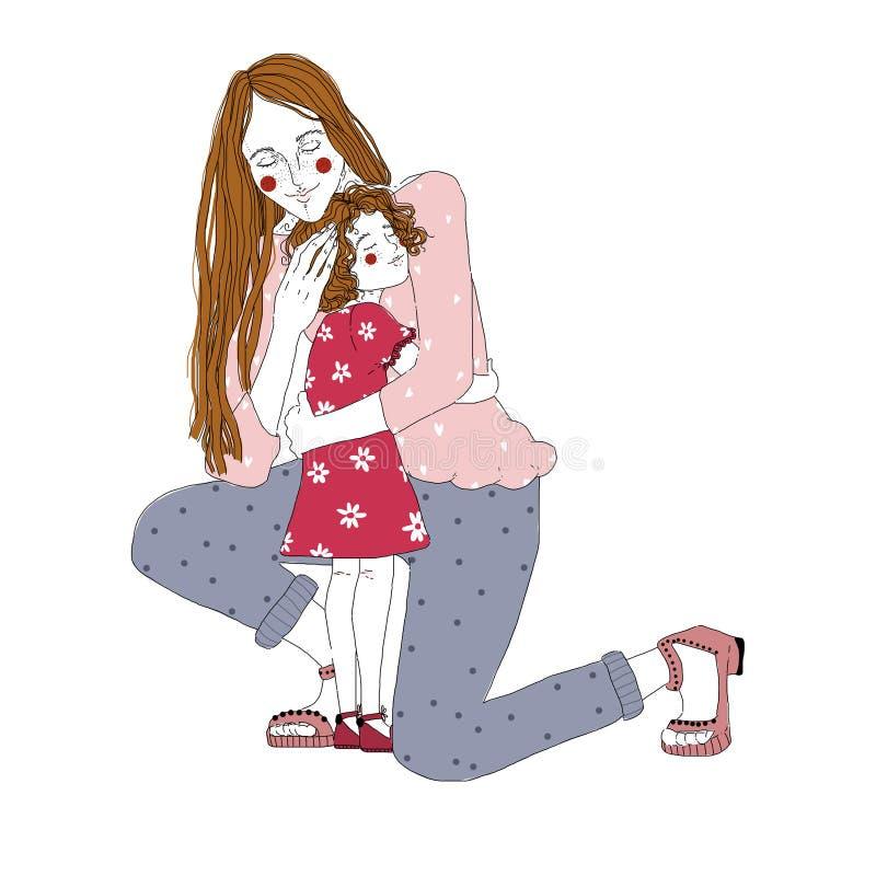 站立在一个膝盖和拥抱的小女孩的长发妇女画象 拥抱在白色和女儿隔绝的妈妈 皇族释放例证