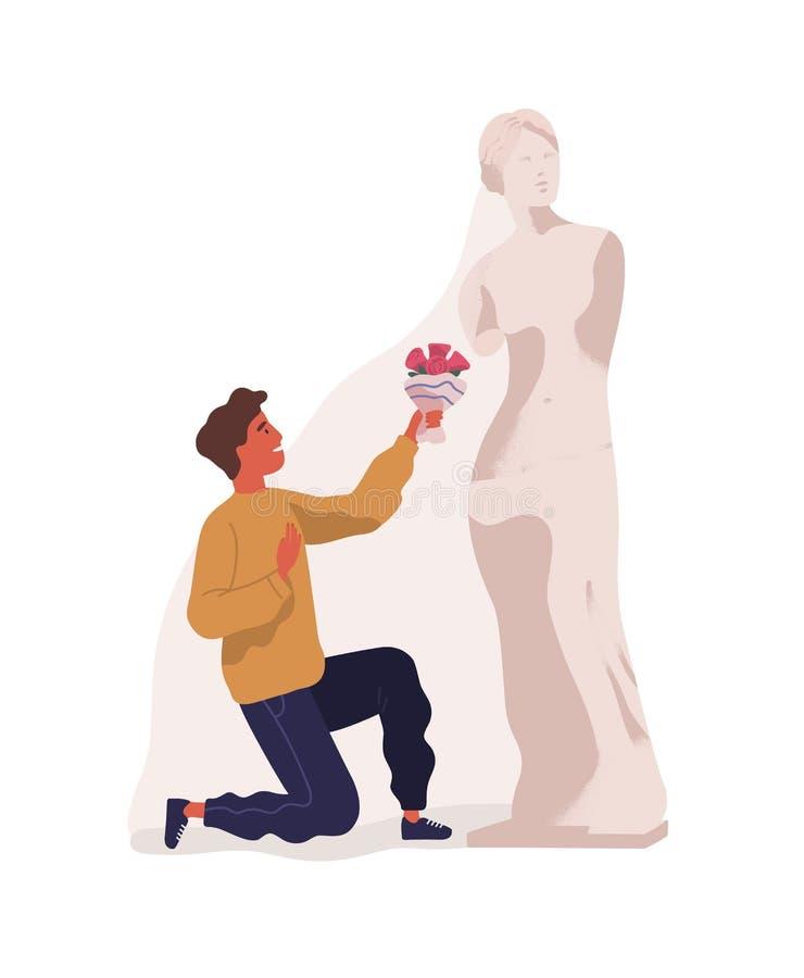 站立在一个膝盖和献花束的年轻人对妇女雕象  伙伴的理想化的概念 向量例证