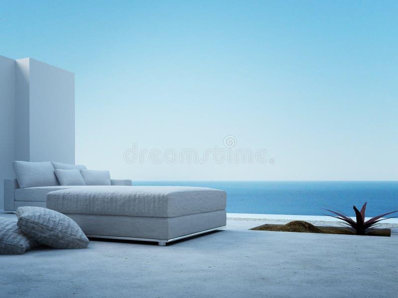 站立在一个露台的白色长沙发有海景视图 向量例证