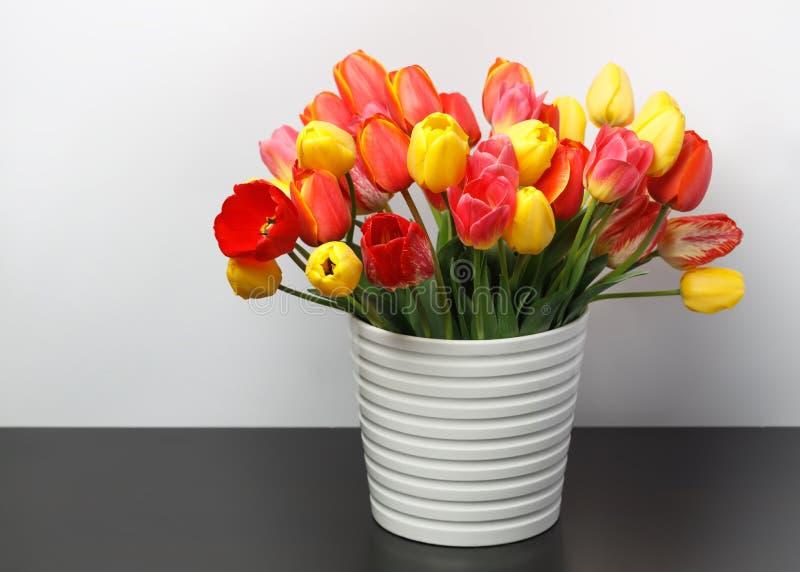 站立在一张黑暗的桌上的一个白色大花瓶的黄色和红色郁金香巨大的花束以白色墙壁为背景 免版税库存图片
