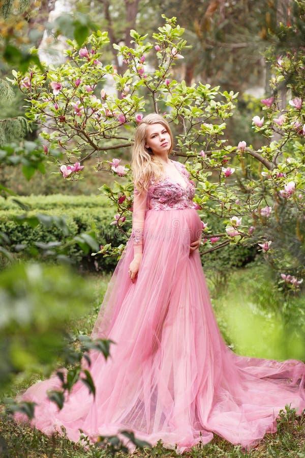 站立在一株开花的木兰附近的一件长的性感的桃红色礼服的美丽的年轻孕妇本质上 免版税库存照片