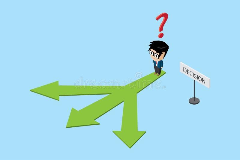 站立在三个方向、决定和企业概念的等量商人 库存例证