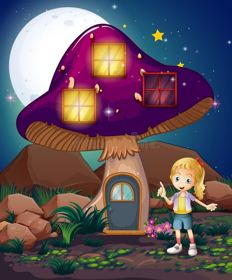 站立在不可思议的蘑菇房子旁边的一个逗人喜爱的女孩 库存例证