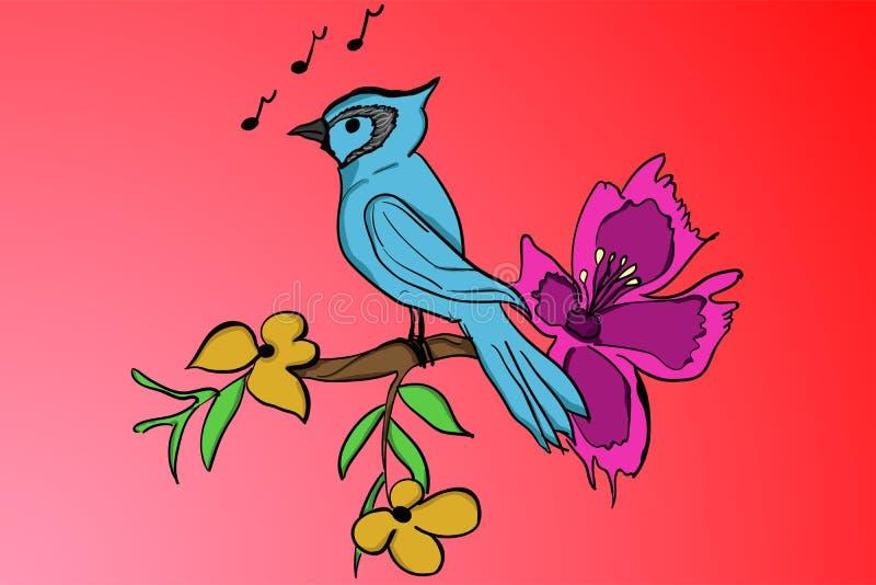 站立在与黄色叶子和紫色bloo的一个分支的蓝色鸟 向量例证