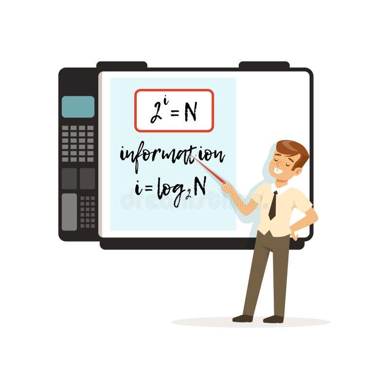 站立在与mathematicsc惯例的一交互式whiteboard,现代学校教训传染媒介前面的男小学生 皇族释放例证