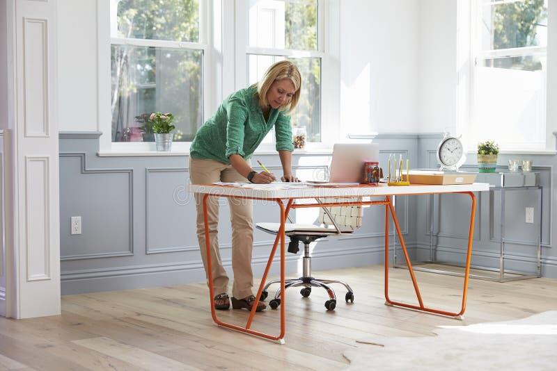 站立在书桌的妇女运转在内政部的膝上型计算机 免版税库存图片