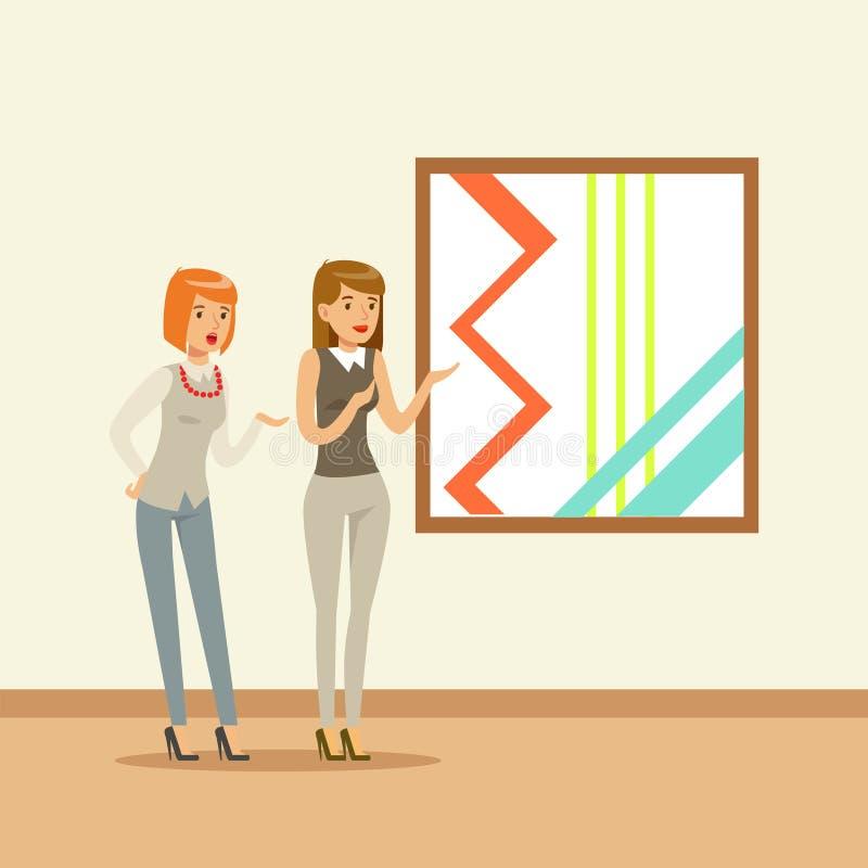 站立在五颜六色的绘画前面的现代艺术画廊的两名妇女 向量例证