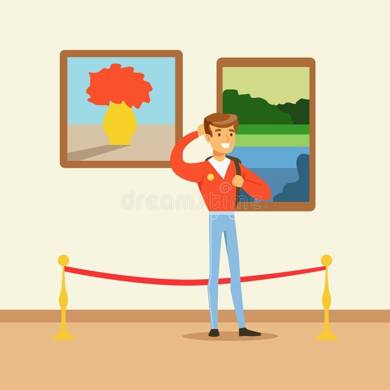 站立在五颜六色的绘画前面的美术画廊的年轻旅游人 向量例证