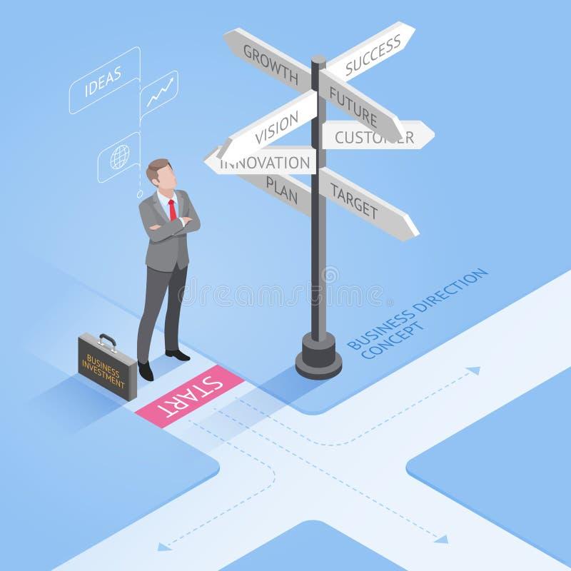 站立在交叉路和看起来定向标志的商人 向量例证