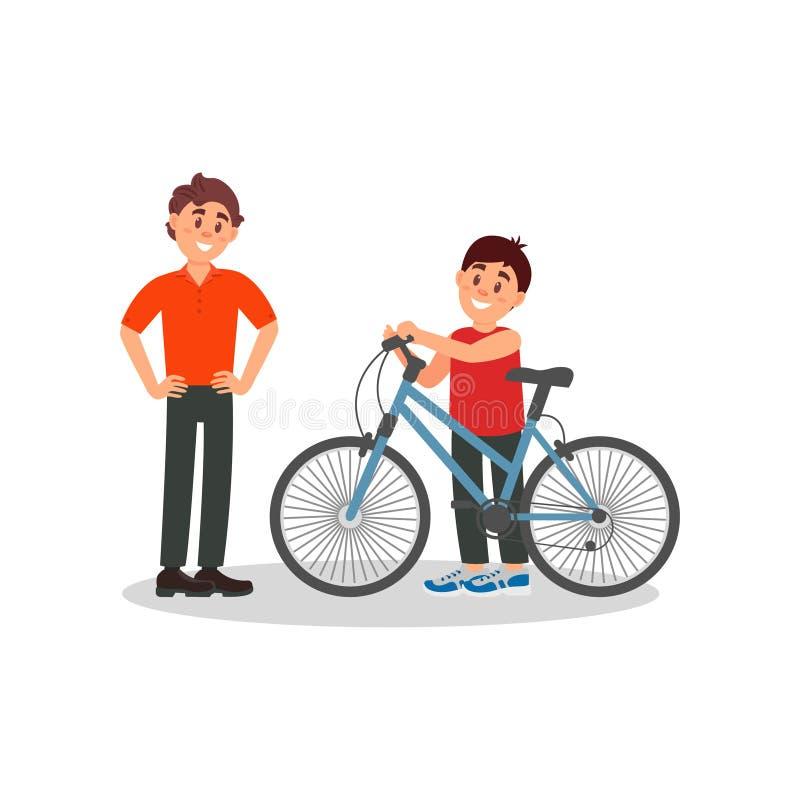 站立在他新的自行车旁边的小微笑的男孩 看在他愉快的儿子的父亲 室外的活动 平的传染媒介 向量例证