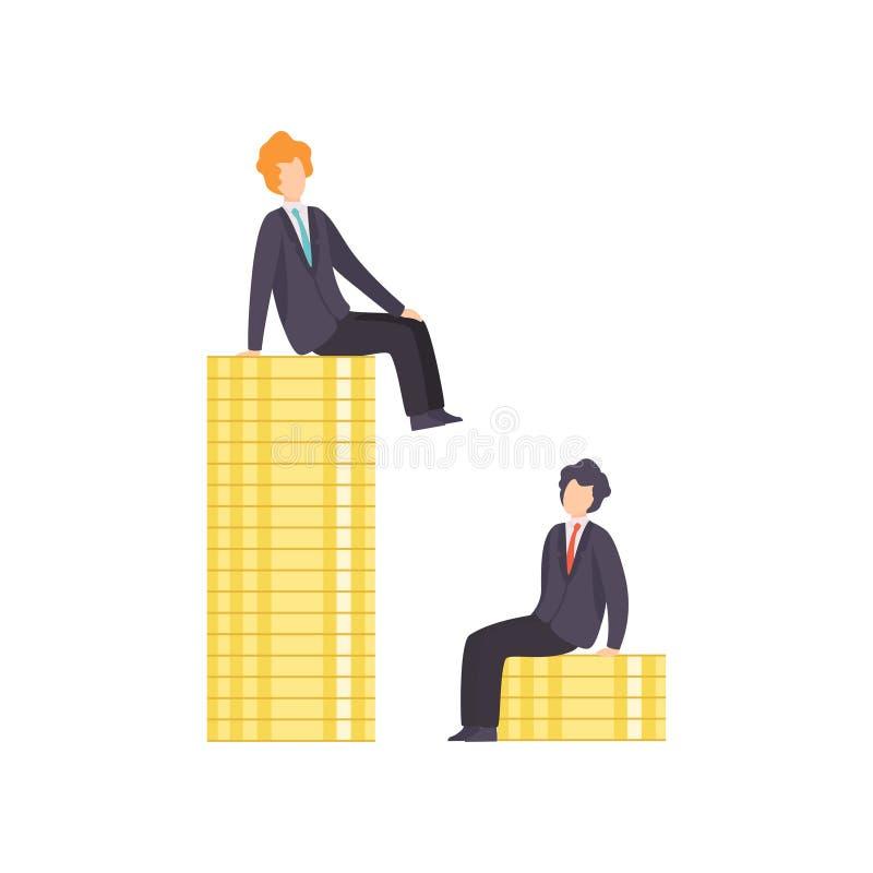 站立在代表工作水平,企业竞争,在同事之间的竞争的堆的商人硬币 向量例证