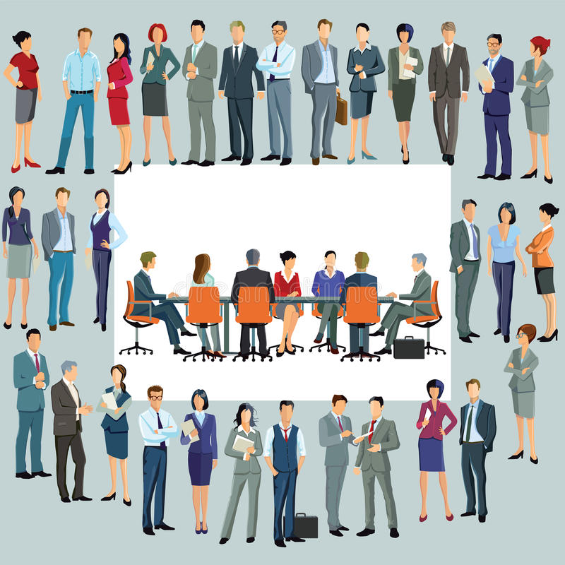 站立在会议桌附近的企业雇员 库存例证