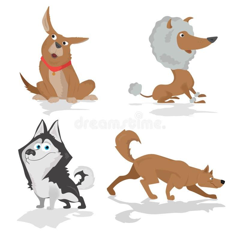 站立在侧视图的各种各样的品种滑稽的狗在白色设置了 皇族释放例证