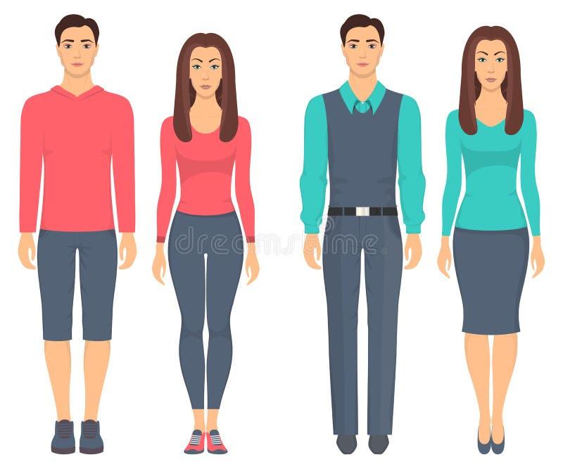 站立在充分的成长的男人和妇女用不同的衣裳 在偶然和体育衣裳的夫妇 基本的衣橱 传染媒介illustrati 皇族释放例证