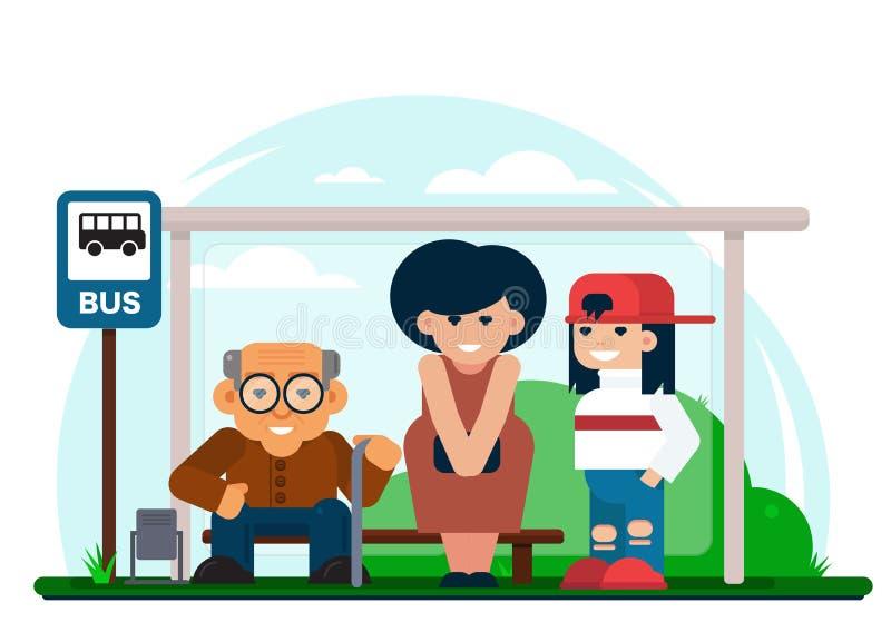 站立在公交车站和等待车的快乐的多世代人民到达 皇族释放例证