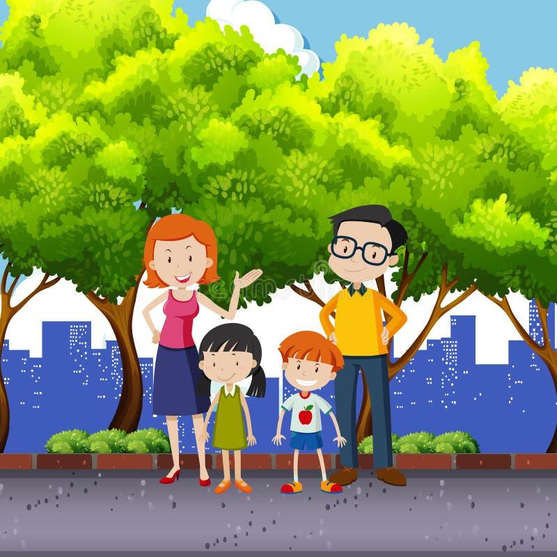 站立在公园的家庭成员 库存例证