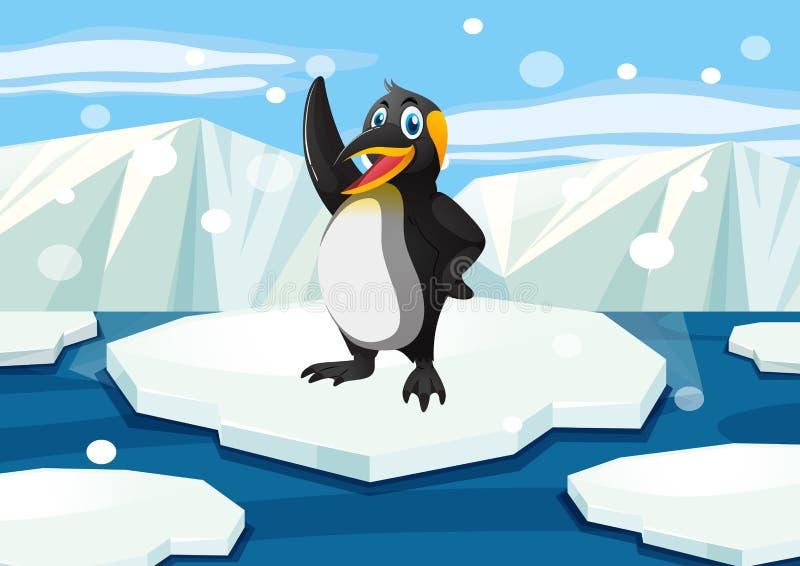 站立在冰山的企鹅 皇族释放例证