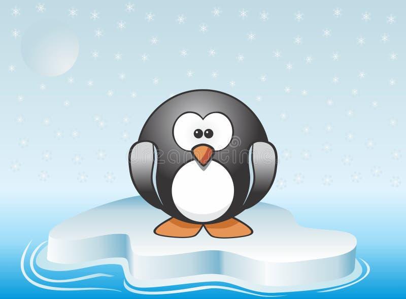 站立在冰山的逗人喜爱的企鹅的图象例证 库存例证