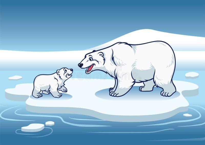 站立在冰的上面的北极熊和她的崽 皇族释放例证