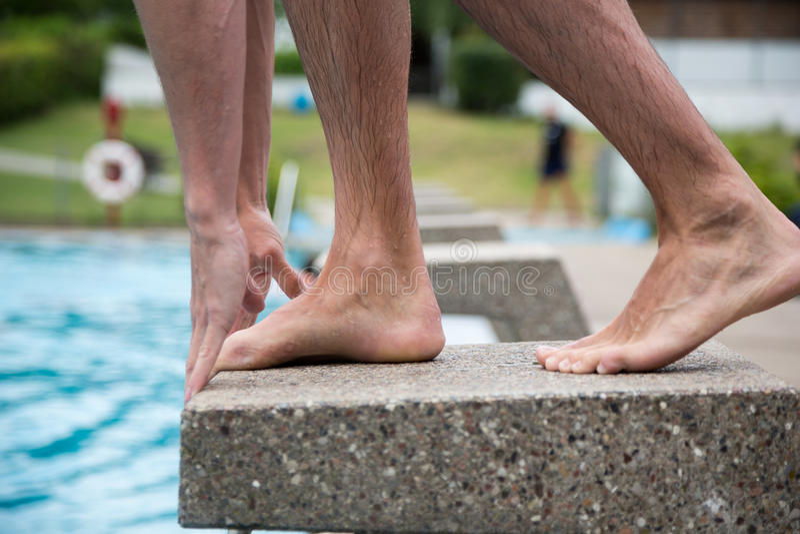 站立在出发台的游泳者在游泳池 库存照片