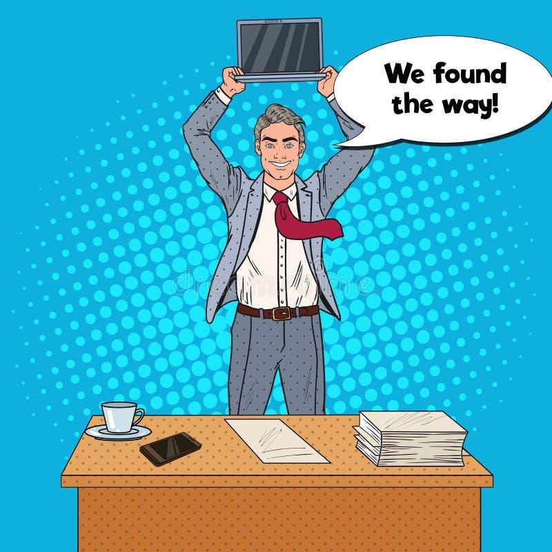站立在办公室表上和拿着膝上型计算机的流行艺术愉快的商人 皇族释放例证