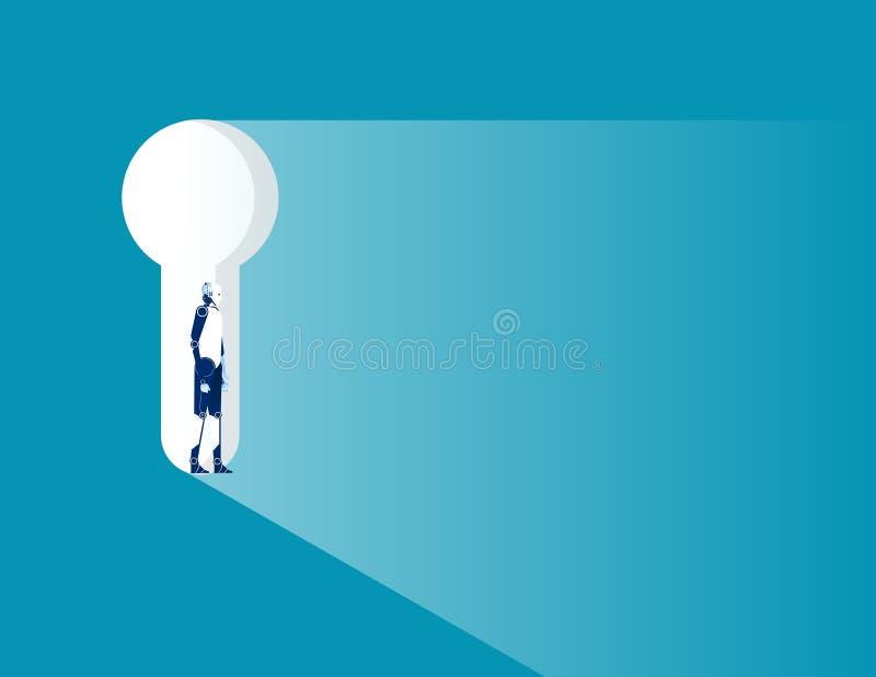 站立在匙孔的机器人 概念企业传染媒介例证 库存例证