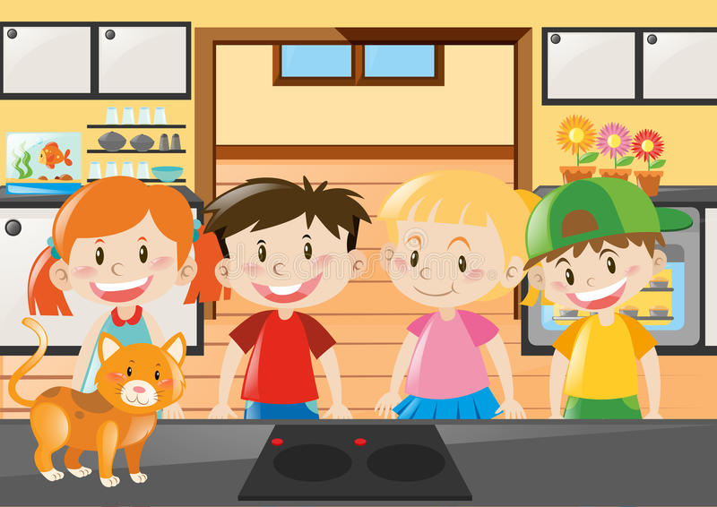 站立在厨房里的四个孩子 皇族释放例证