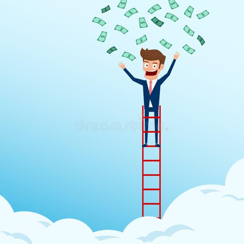 站立在台阶顶部的商人和从电灯泡想法得到金钱 对成功概念的台阶步 向量例证